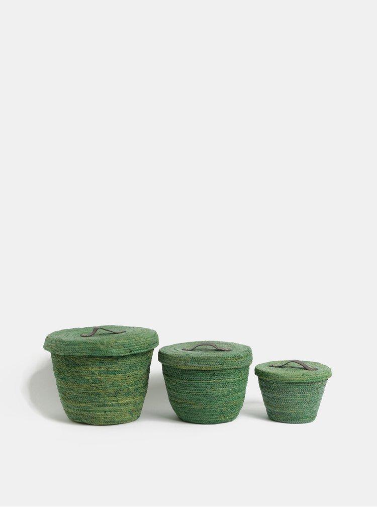 Sada tří košů v zelené barvě Kaemingk
