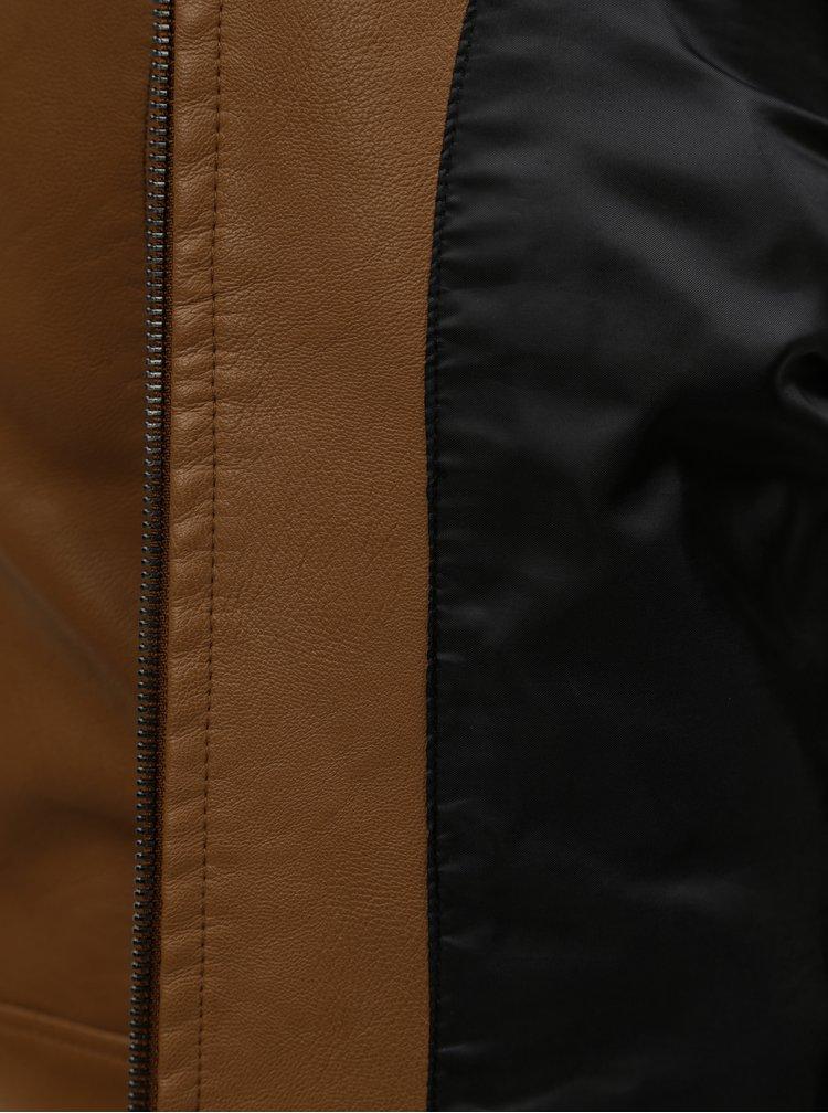 Hnědá koženková bunda VERO MODA