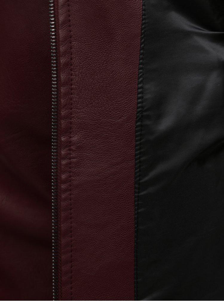 Vínová koženková bunda VERO MODA