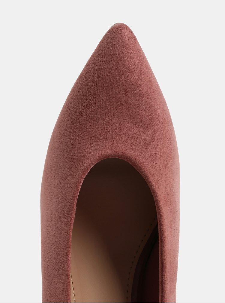 Růžové lodičky v semišové úpravě na jehlovém podpatku Dorothy Perkins Gatsby