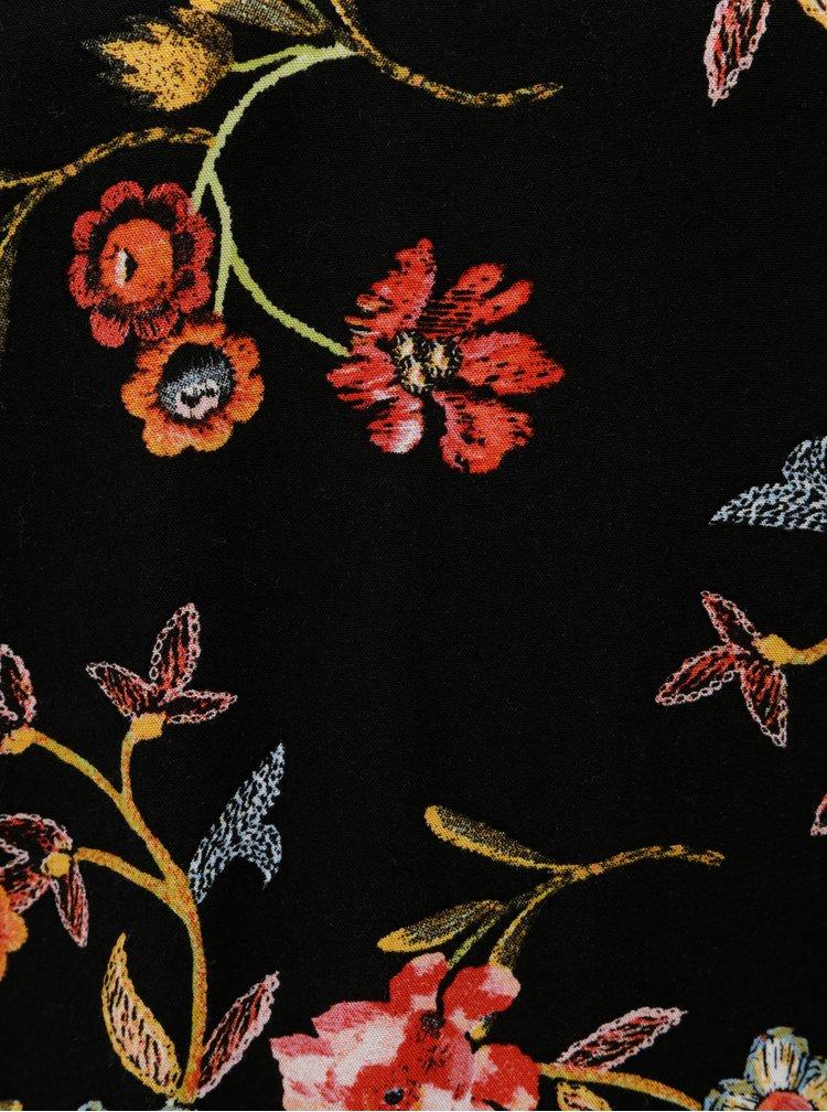 Tricou de dama negru floral cu maneci lungi Garcia Jeans