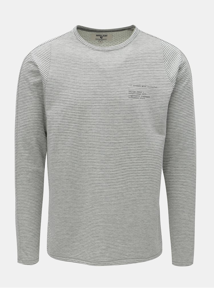 Šedé pánské pruhované tričko s dlouhým rukávem Garcia Jeans