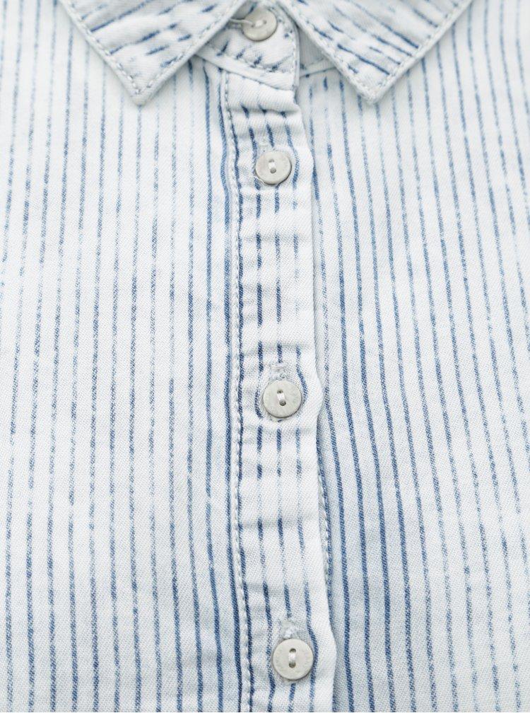 Světle modré pruhované košilové šaty Garcia Jeans
