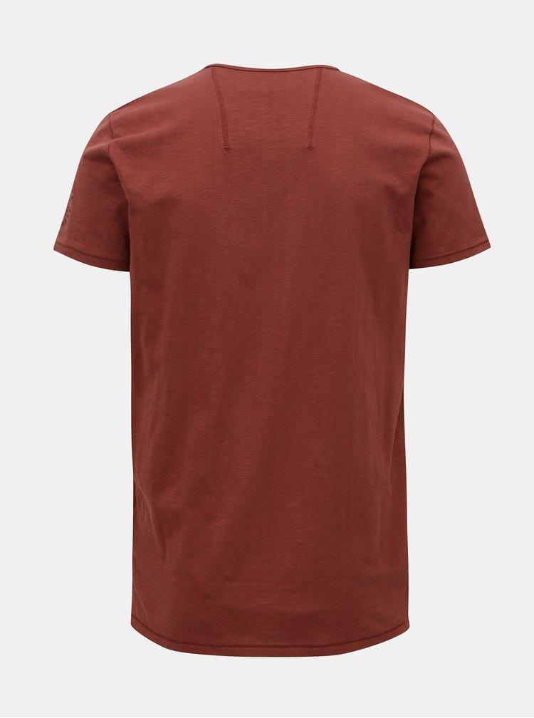 Tricou barbatesc rosu cu print Garcia Jeans