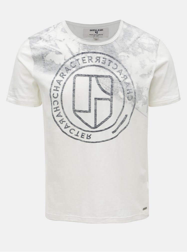 Krémové pánske tričko s potlačou Garcia Jeans