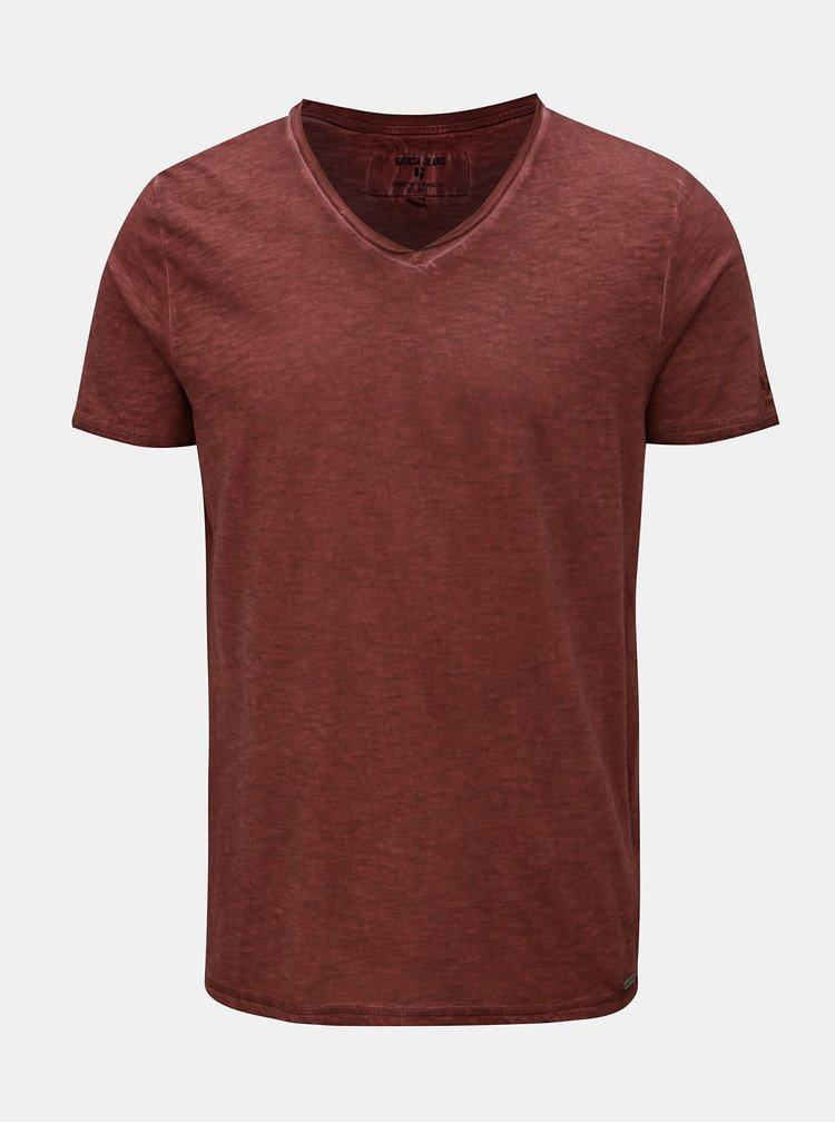 Hnědé pánské žíhané basic tričko Garcia Jeans