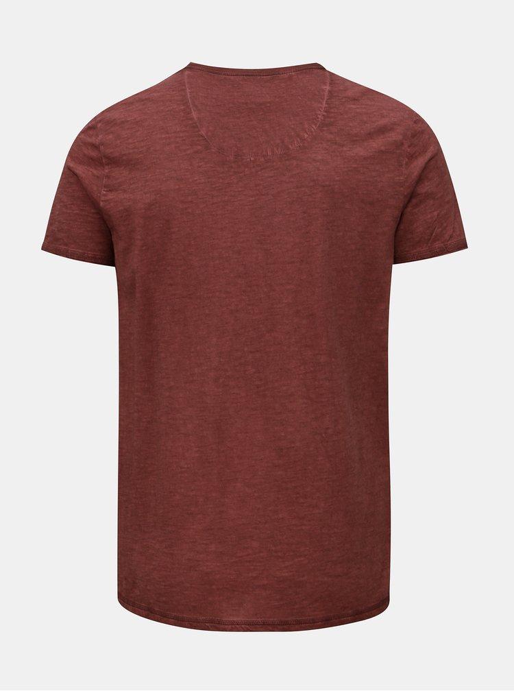 Hnědé pánské žíhané tričko Garcia Jeans