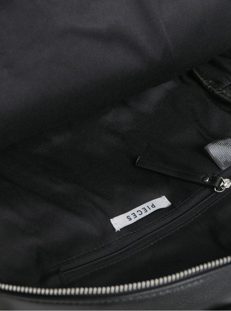 Rucsac negru din piele sintetica cu decoratii metalice Pieces Allie
