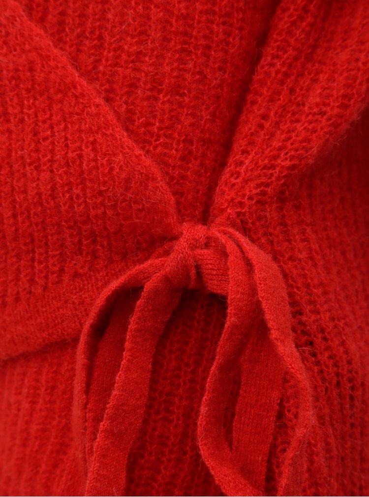 Pulover rosu din lana cu croi suprapus VERO MODA