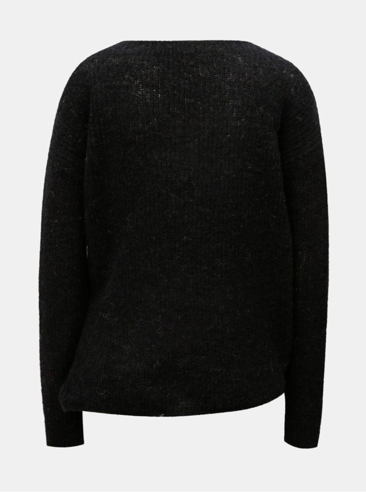 Pulover negru din lana cu croi suprapus VERO MODA