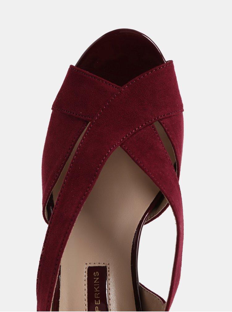 Vínové sandále v semišovej úprave na ihličkovom podpätku Dorothy Perkins Britney