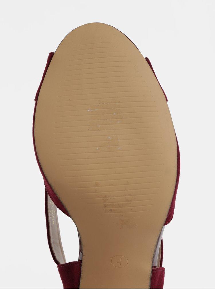 Vínové sandálky v semišové úpravě na jehlovém podpatku Dorothy Perkins Britney