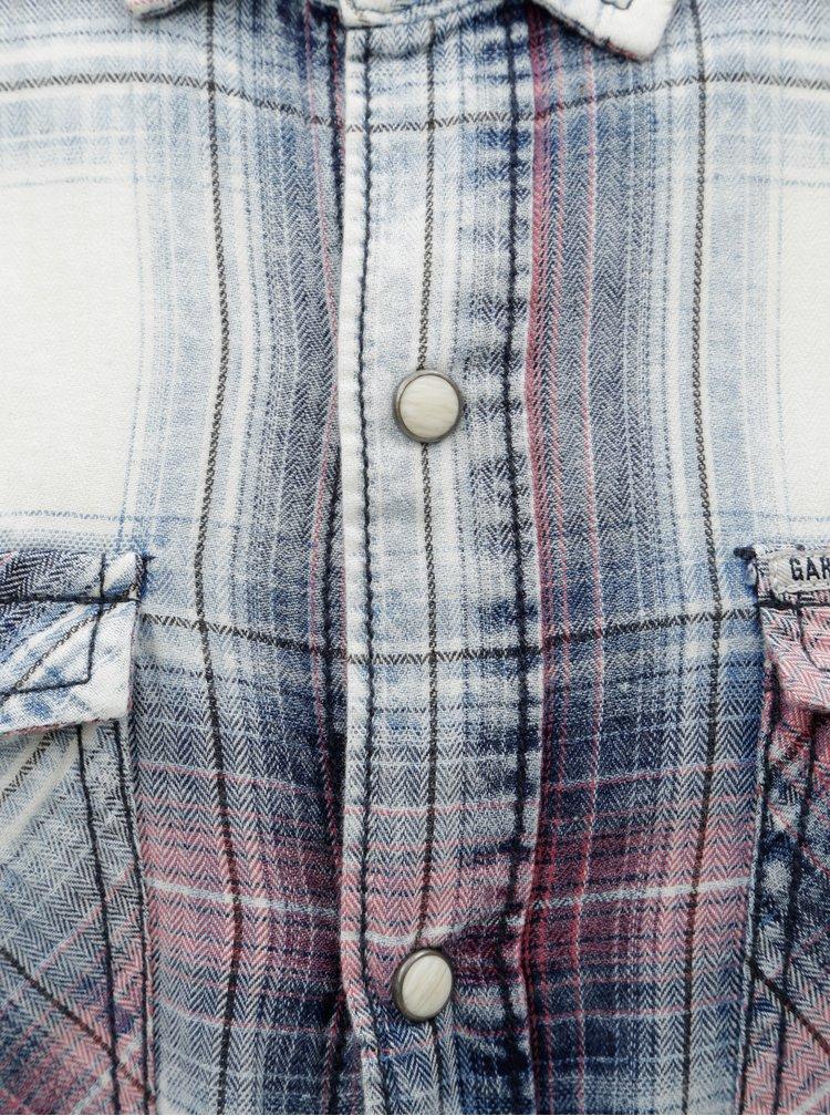 Camasa barbateasca crem-albastru Garcia Jeans