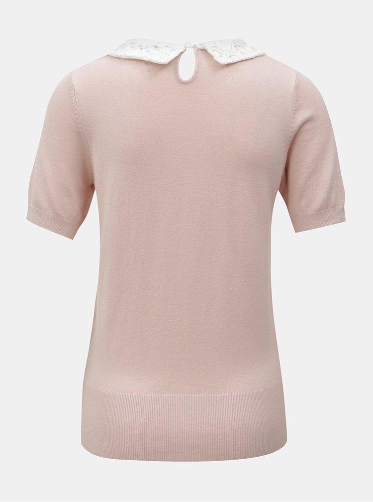 Růžové tričko s krajkovým límečkem Dorothy Perkins