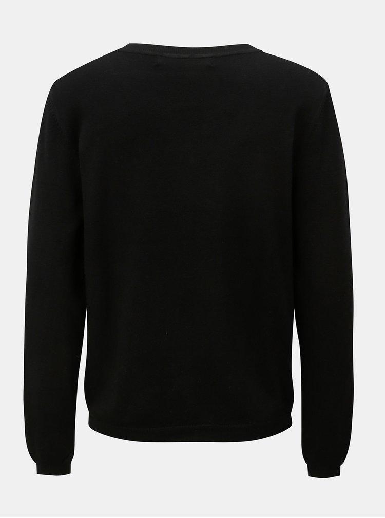 Čierny tenký sveter s korálkovou aplikáciou VERO MODA