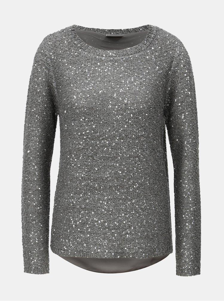 Sivý sveter s flitrami a prekladanou zadnou časťou VERO MODA