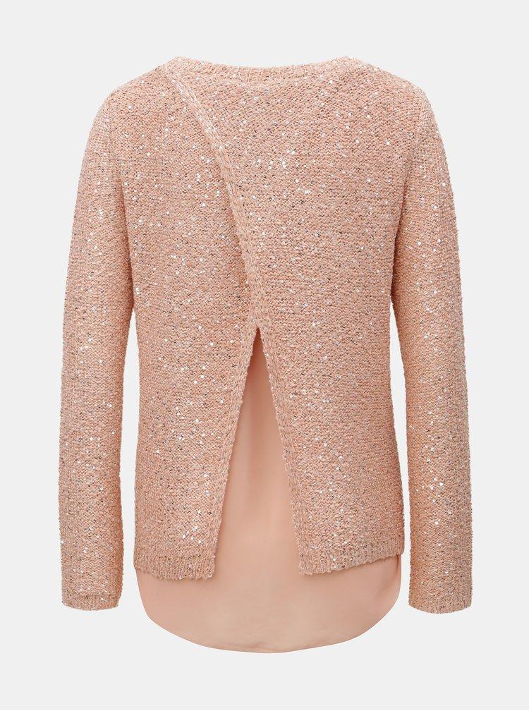 Pulover roz piersica cu paiete si partea din spate suprapusa VERO MODA