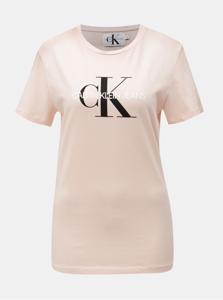 Růžové dámské tričko s potiskem Calvin Klein Jeans