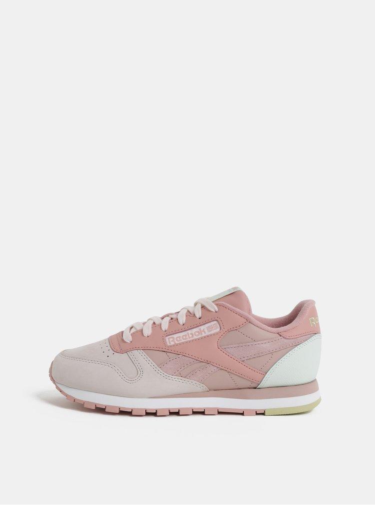 Růžové dámské kožené tenisky Reebok Classic