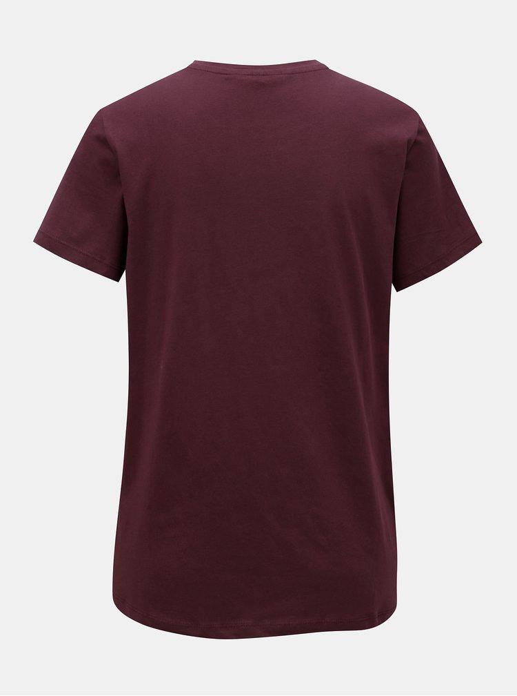Vínové tričko s aplikací VERO MODA