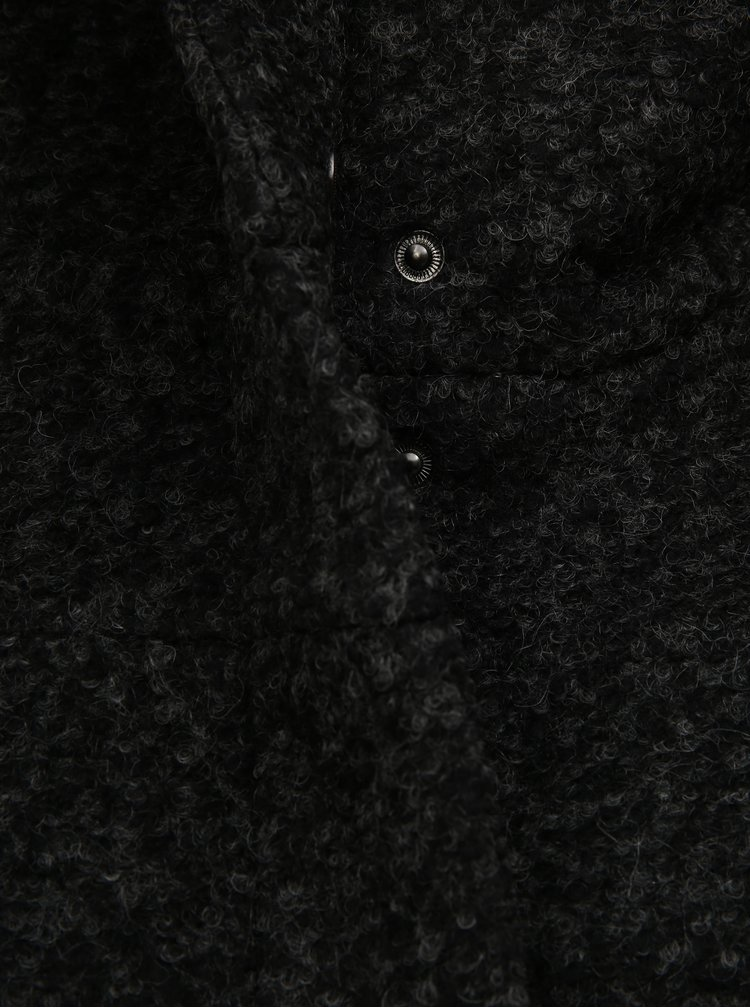 Pardesiu de iarna gri inchis cu amestec de lana Zizzi