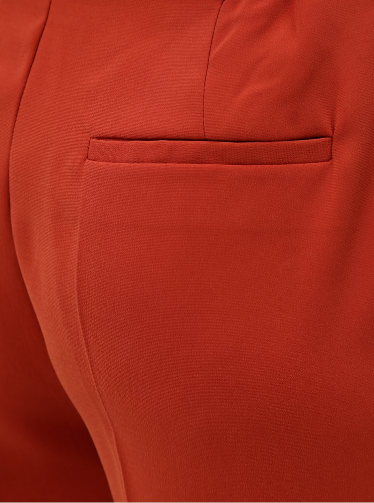 Cihlové zkrácené kalhoty s vysokým pasem VERO MODA