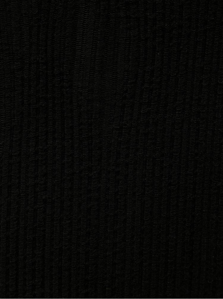 Černé midišaty se stojáčkem a rozparky Jacqueline de Yong