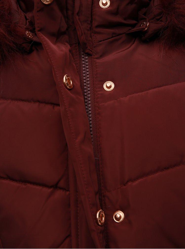 Vínový holčičí zimní kabát s umělým kožíškem Name it Mela