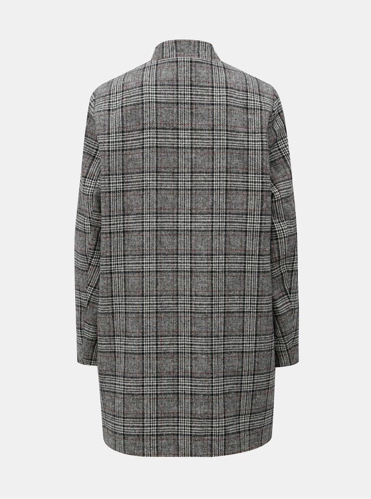 Šedý lehký kostkovaný kabát ONLY