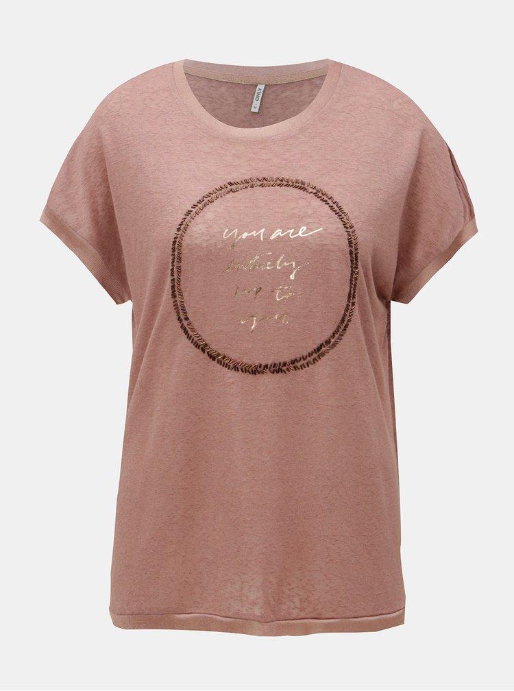 Starorůžové tričko s krátkým rukávem ONLY