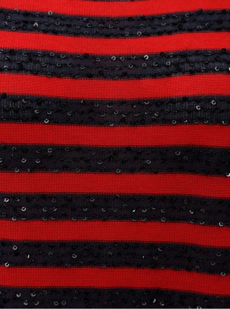 Tricou albastru-rosu cu dungi si paiete ONLY
