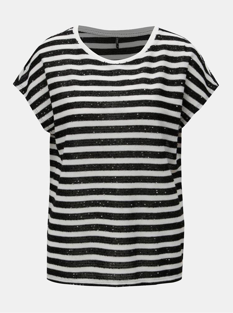 Tricou negru-alb cu dungi si paiete ONLY