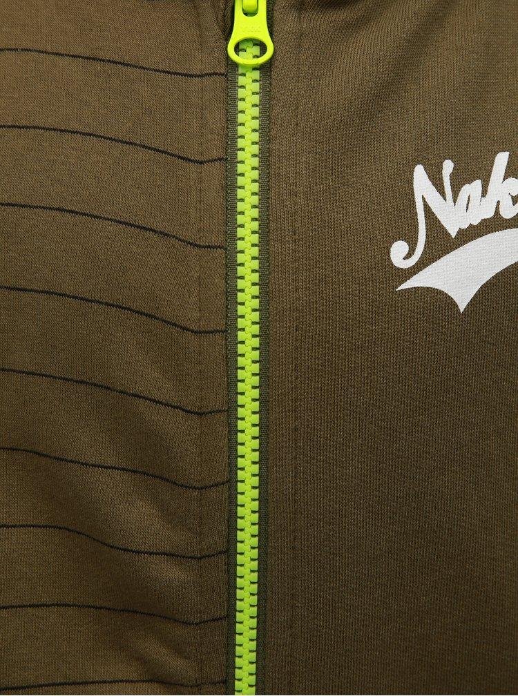 Khaki klučičí mikina na zip s kapucí Name it Newark