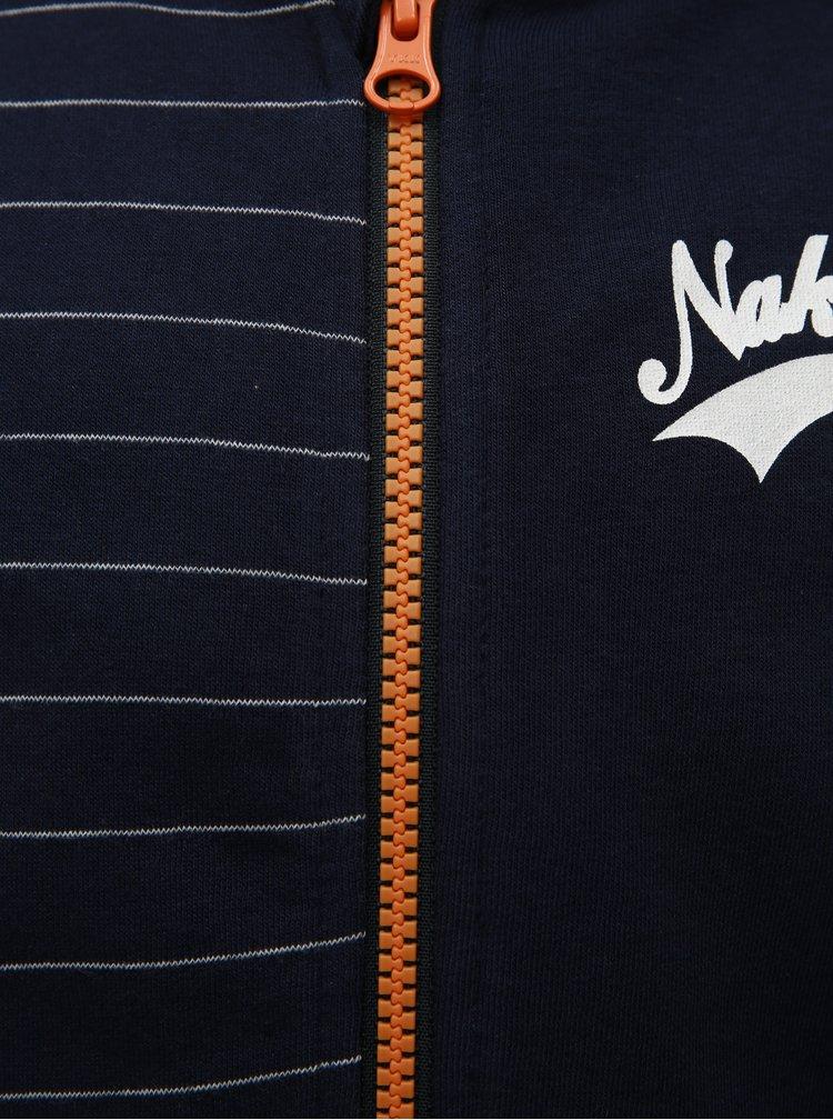 Tmavě modrá klučičí mikina na zip s kapucí Name it Newark