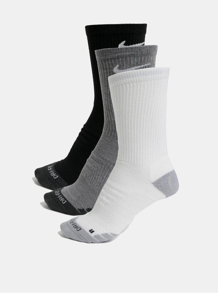 Sada tří párů unisex funkčních ponožek v černé a bílé barvě Nike Everyday