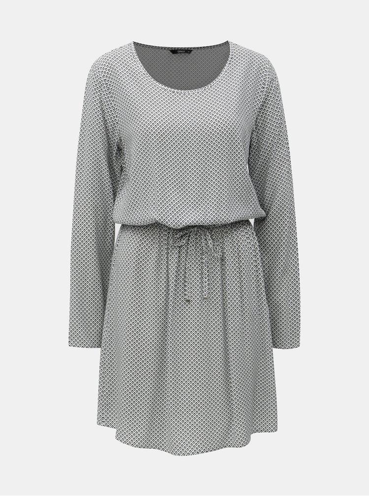 Černo-bílé vzorované šaty se stahováním v pase ONLY