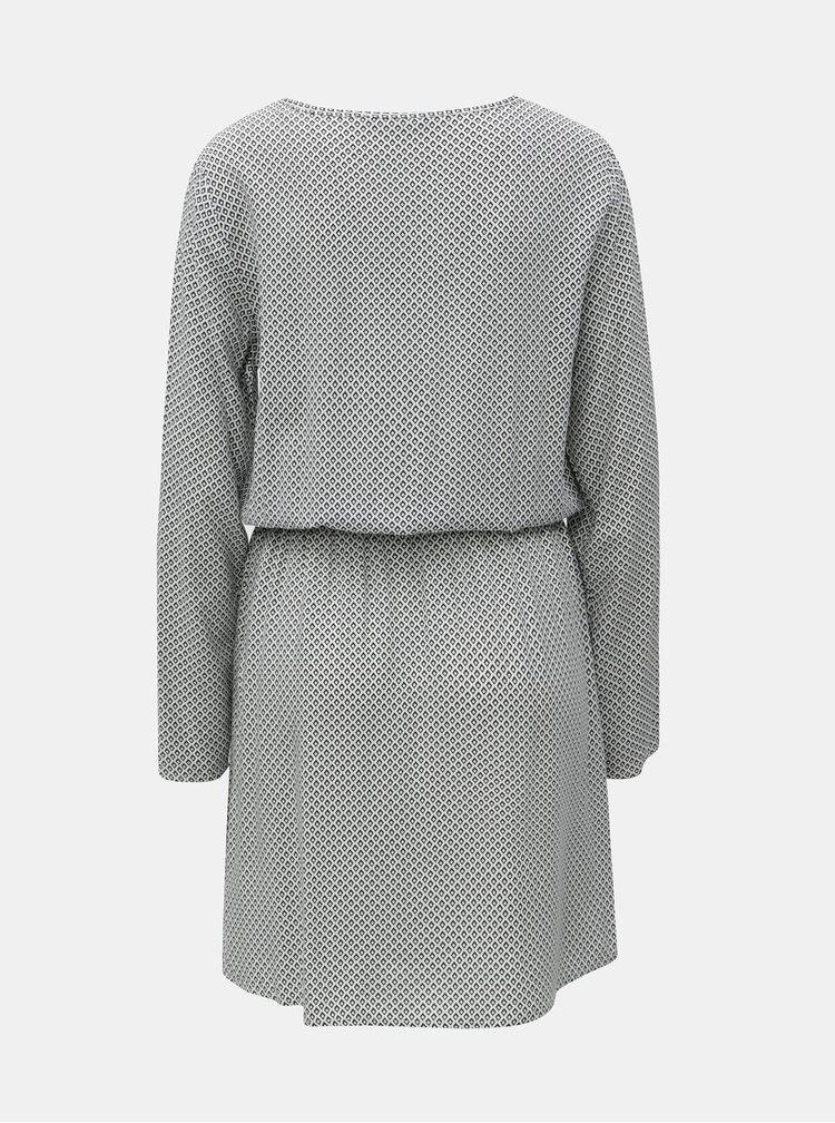 Čierno-biele vzorované šaty so sťahovaním v páse ONLY