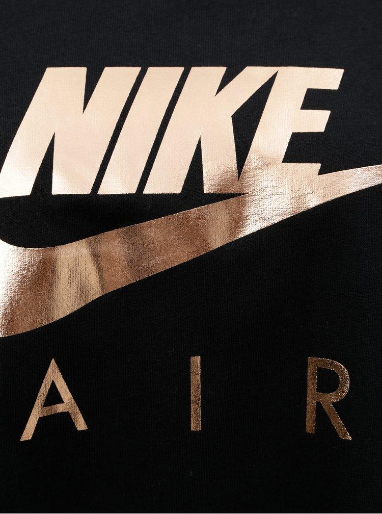 Černé dlouhé oversize tričko s potiskem Nike