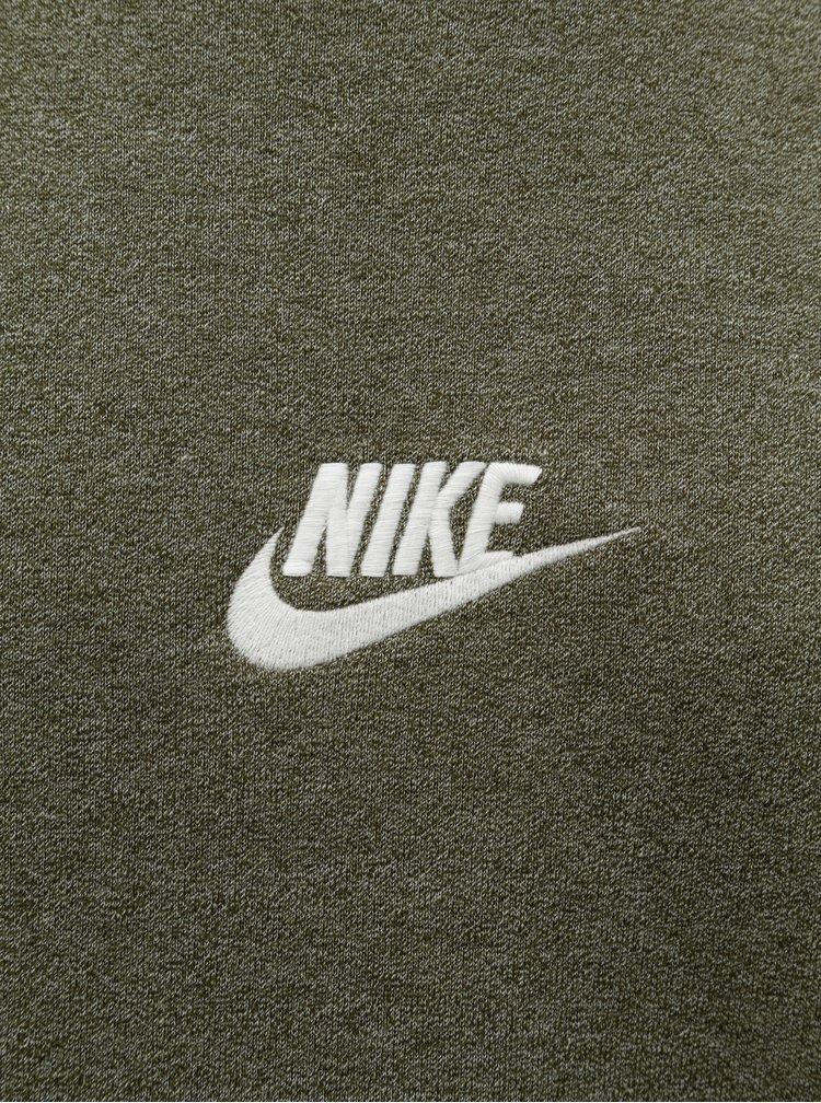 Khaki pánská žíhaná mikina s výšivkou loga Nike Heritage