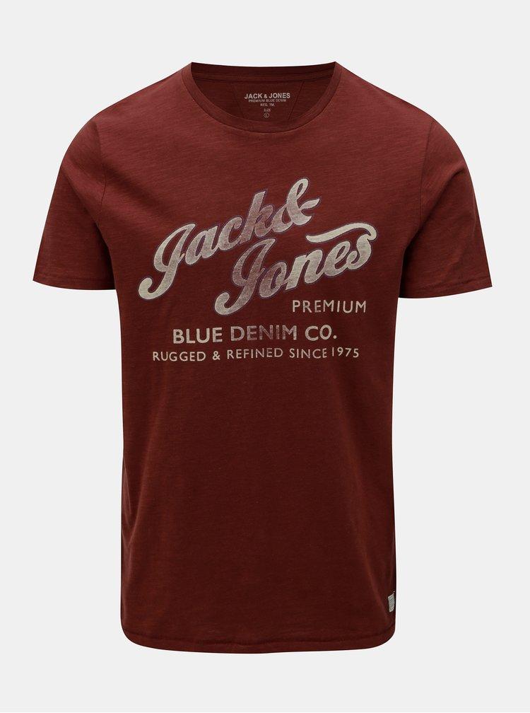 Tricou caramiziu cu print si maneci scurte Jack & Jones Super Tee
