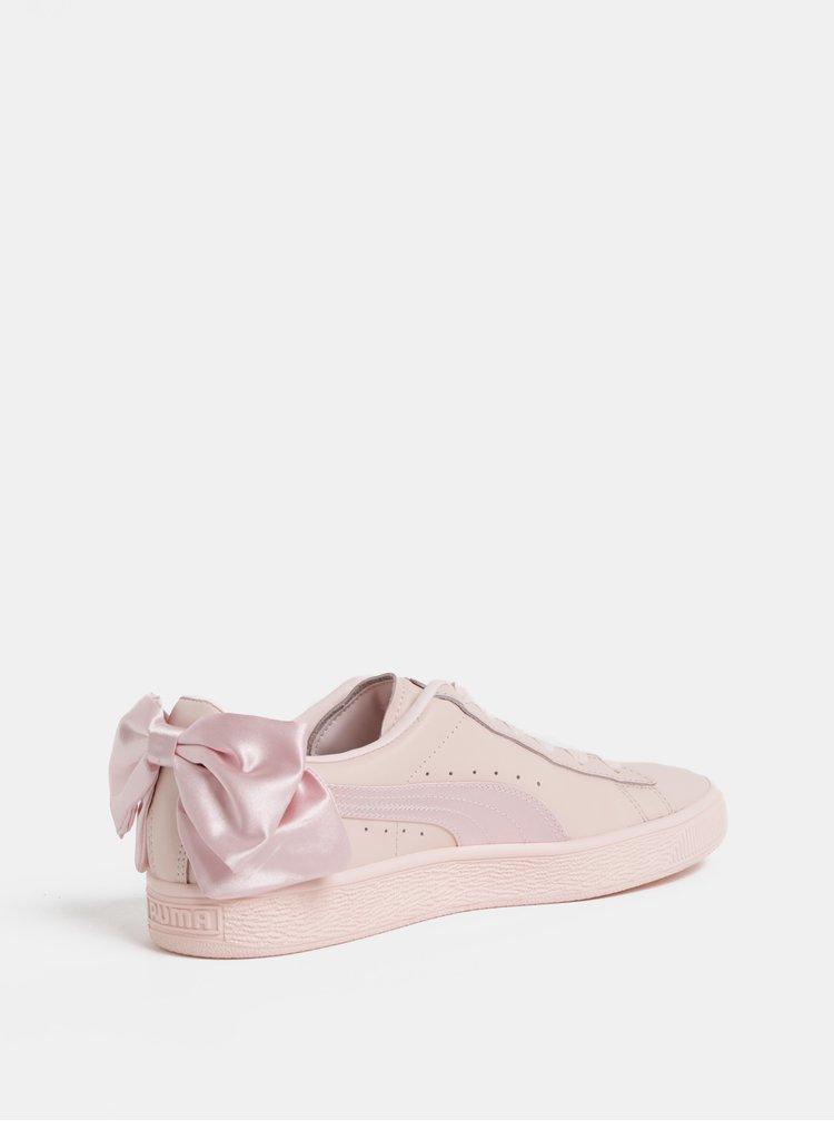 Světle růžové dámské kožené tenisky s mašlí Puma Basket