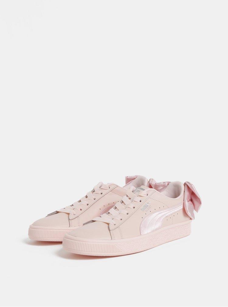 Tenisi de dama roz deschis din piele cu funda Puma Basket