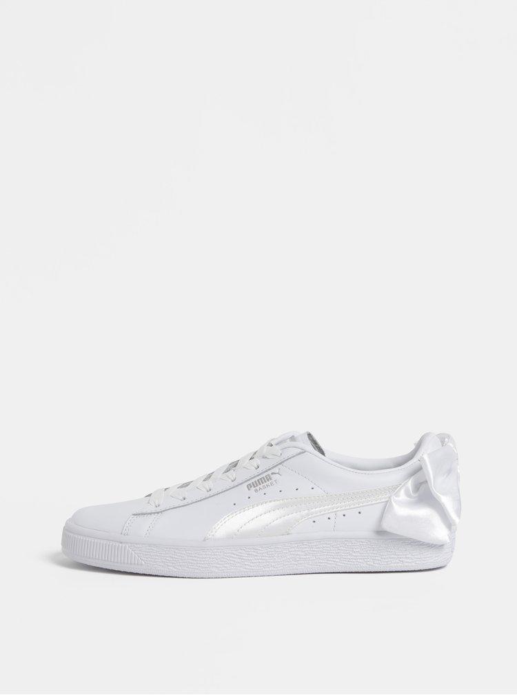 Bílé  dámské kožené tenisky s mašlí Puma Basket