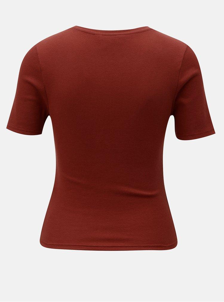 Tehlové rebrované tričko Miss Selfridge