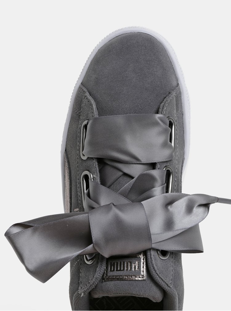 Šedé dámské semišové tenisky s třpytivým detailem Puma Suede Heart LunaLux