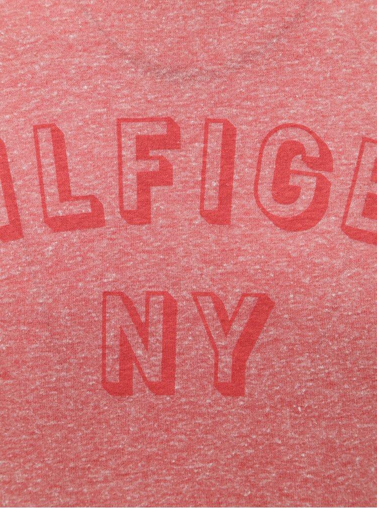 Červené pánské žíhané tričko s potiskem Tommy Hilfiger