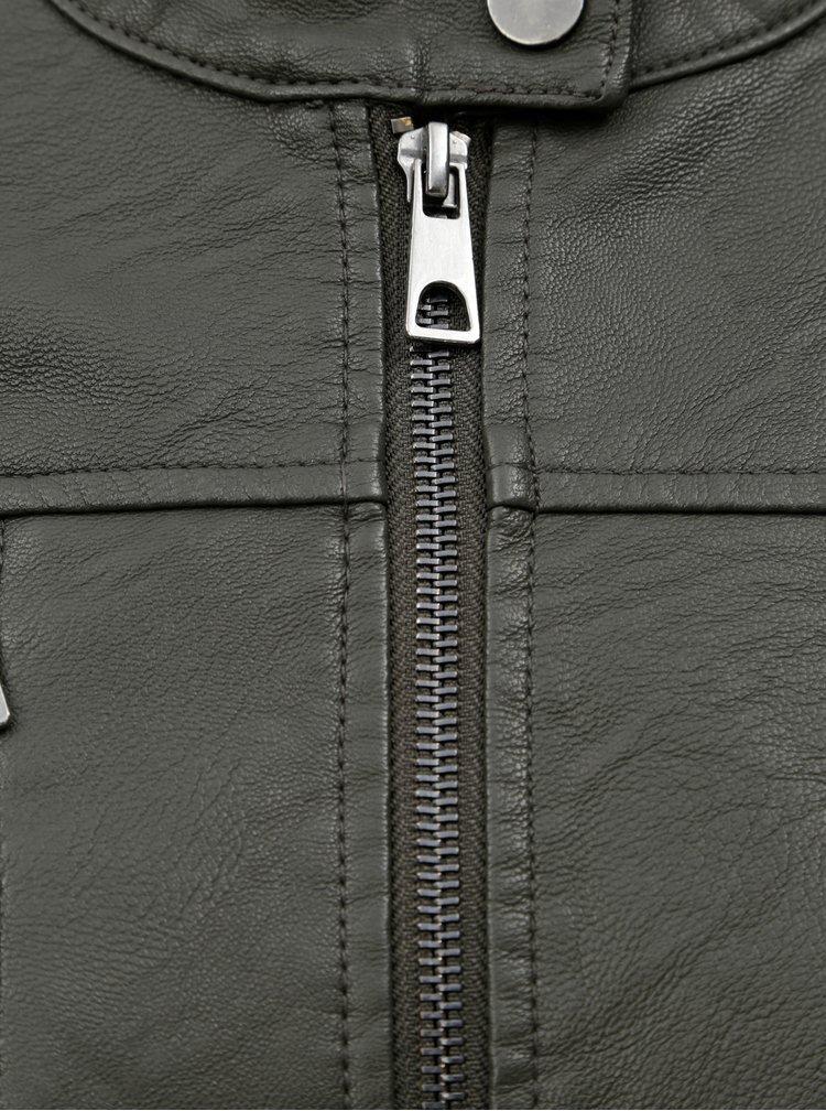 Jacheta kaki din piele sintetica VERO MODA