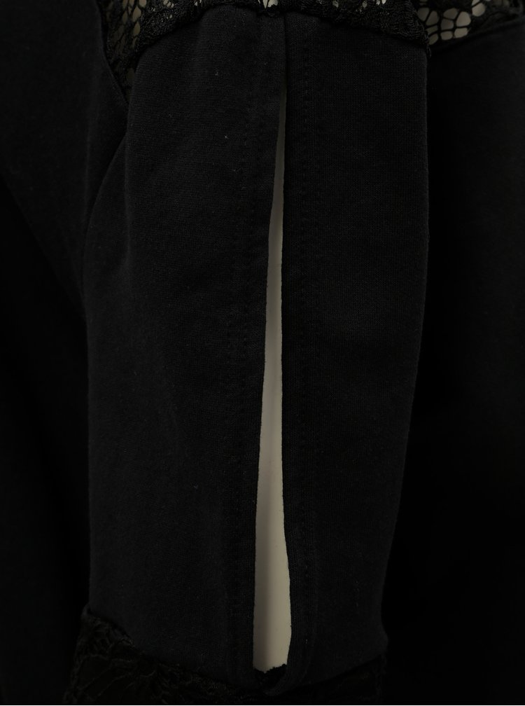 Černá volná mikina s krajkou ELVI