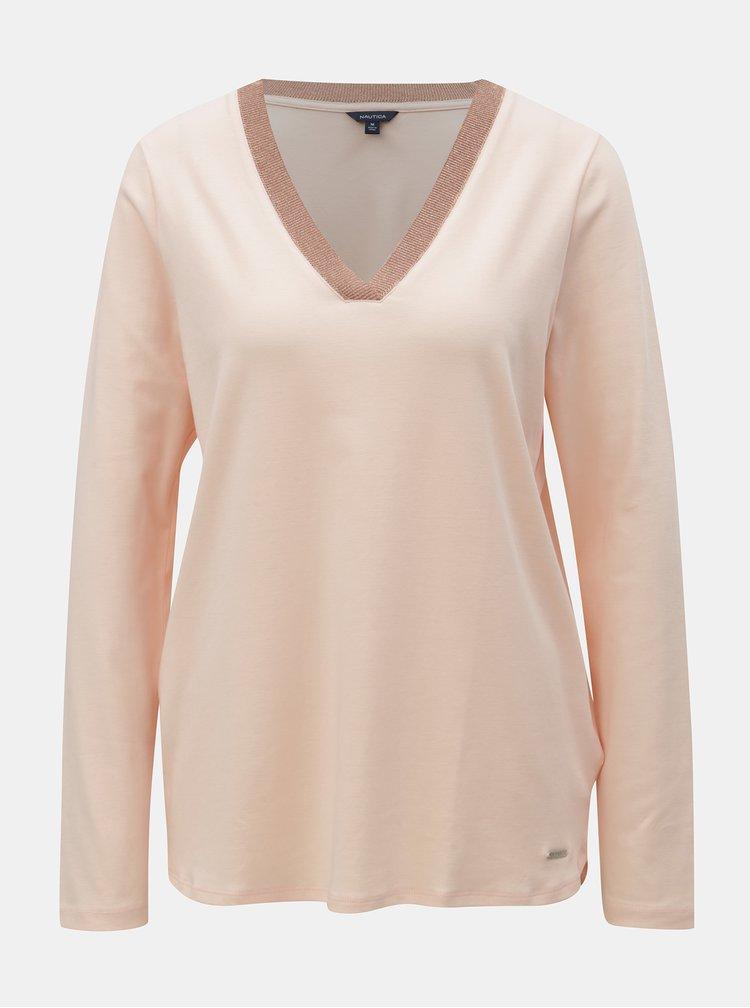 Světle růžové tričko s véčkovým výstřihem Nautica