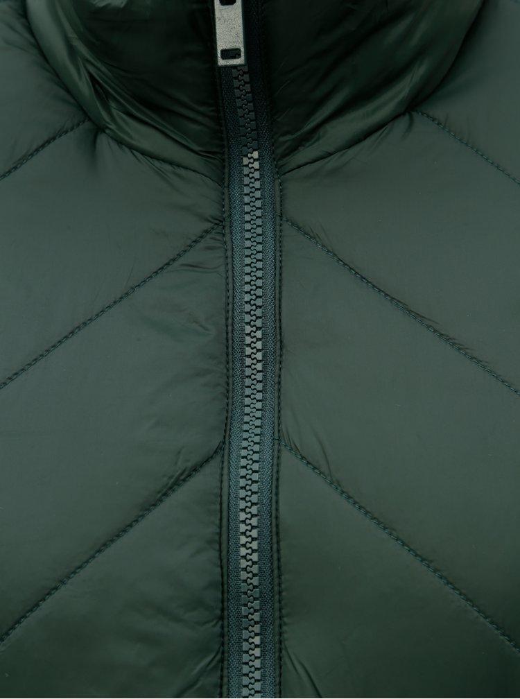 Tmavozelený prešívaný kabát so zipsmi na bokoch Noisy May